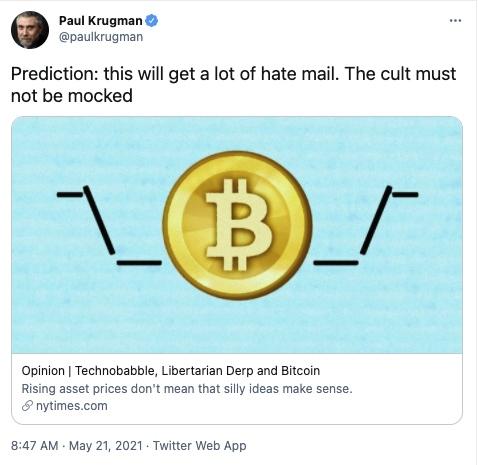 诺贝尔经济学奖得主克鲁格曼比特币是庞氏骗局